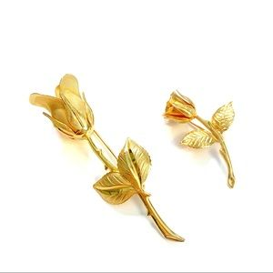 Vintage Gold Tone Flower Brooch Set
